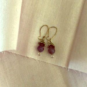 Jewelry - Gen Amethyst Bead/SilvTone Cap Earrings Hook/Clasp